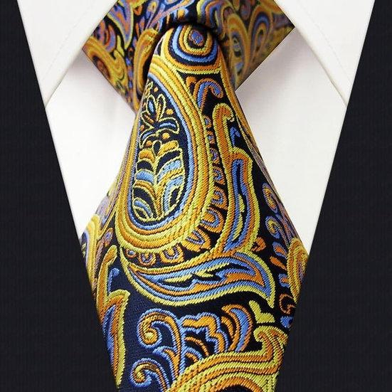 Yellow Paisley Silk Mens Tie Set