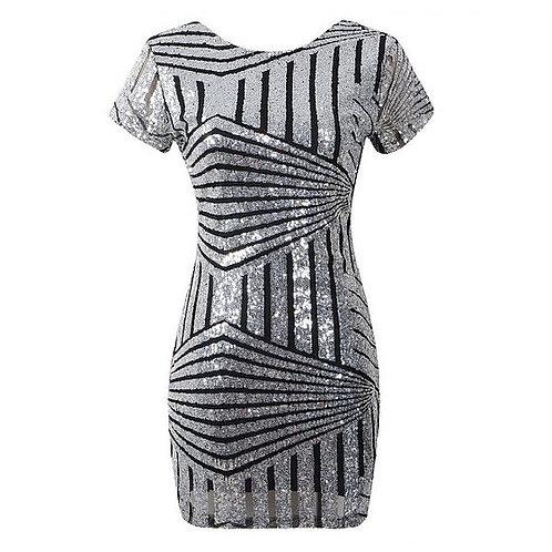 Black & Silver Sequin Striped Mini Dress
