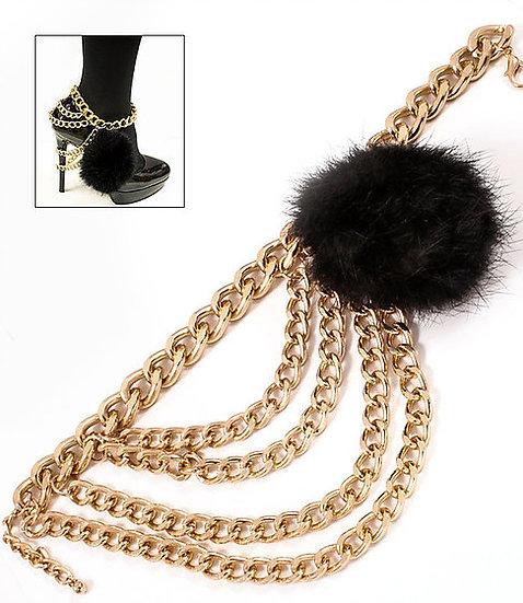 Fur Pom Pom Multi Layered Chains (pair)