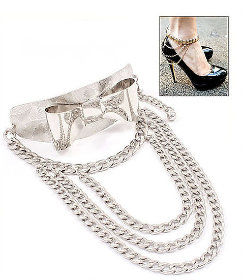 Multi Layered Link Bow Shoe Chains (pair)