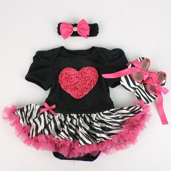 3 Pc Pink Ruffle Zebra Baby Tutu Dress Set