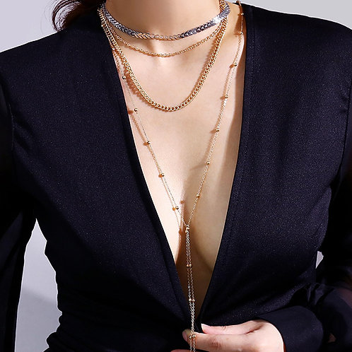 """Chantell"" Multi Layered Two Toned Necklace"