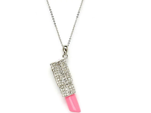 Crystal Lipstick Charm Necklace