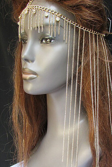 """Regina"" Crystal Metallic Link Hair Chain"