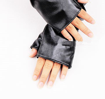 Faux Leather Fingerless Gloves (pair)