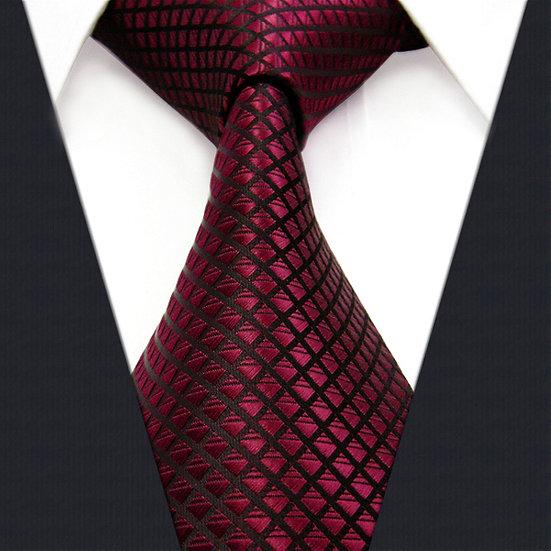 Burgundy Checkered Silk Mens Tie Set