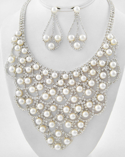 """Whitney"" Pearl & Rhinestone Necklace Set"