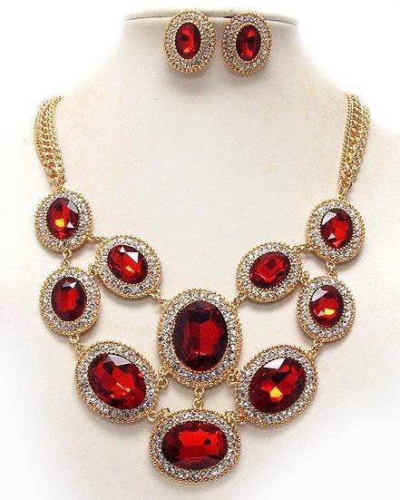 """Ivy"" Red Crystal Necklace Set"