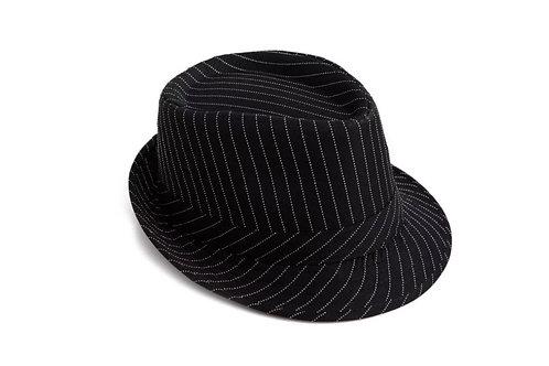 Black & White Pin Stripe Fedora