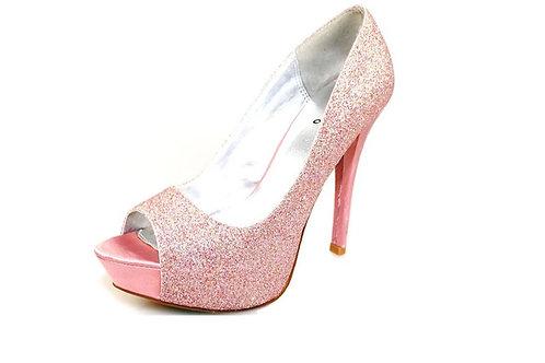 Open Toe Pink Glitter Heels