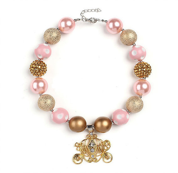 Pink & Gold Crystal Carriage Beaded Bubblegum Necklace