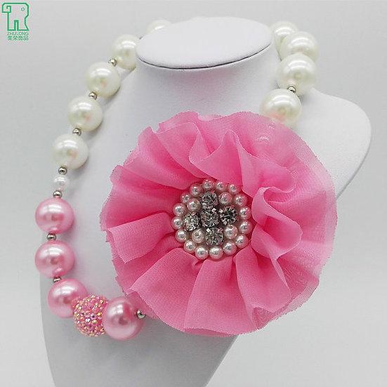 Crystal Flower Beaded Bubblegum Necklace