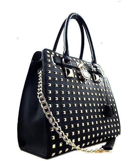 Faux Leather Studded Handbag
