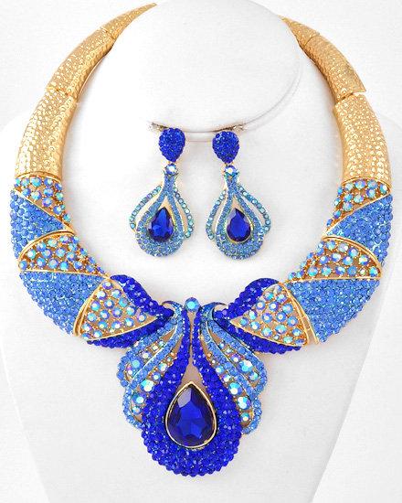 """Marilyn"" Blue Crystal Necklace Set"