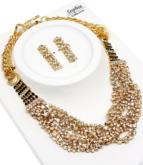 """Gia"" Crystal Cluster Necklace Set"