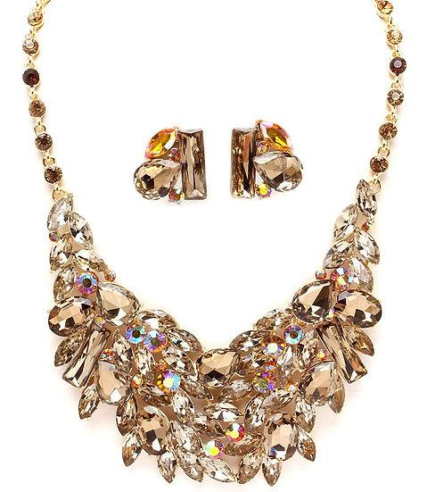"""""""Helene"""" Topaz Crystal Necklace Set"""