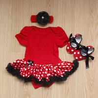 3 Pc Red Polka Dot Baby Tutu Dress Set