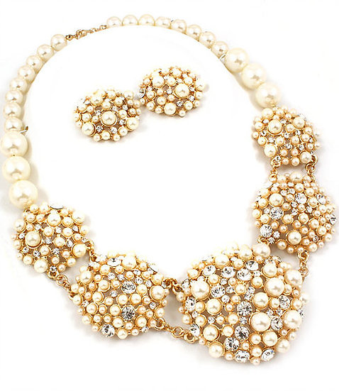"""Hannah"" Crystal &  Pearl Cluster Bridal Necklace Set"