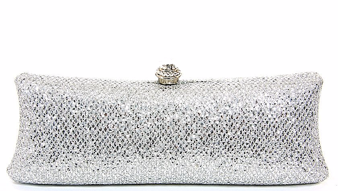 Glitter & Rhinestone Snap Top Evening Bag