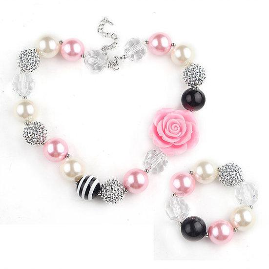 Pink & Black Rose Beaded Bubblegum Necklace Set