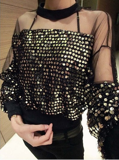 Gold Sequin Sheer Blouse