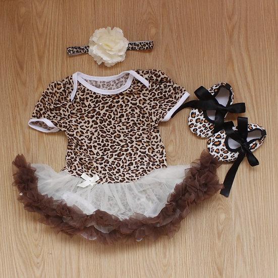 3 Pc Leopard Print Baby Tutu Dress Set
