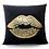 "Thumbnail: Gold Foil ""Lips"" Pillow Cover"