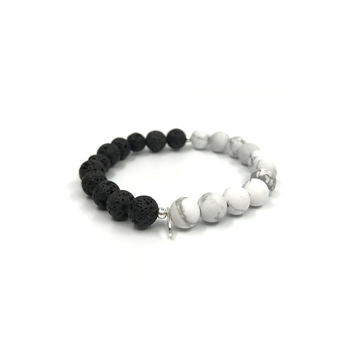 Howlite and Lava Stone Bracelet 8mm