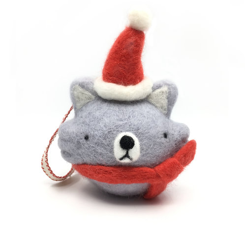 "Needle Felted ""Woof"" Ornament"