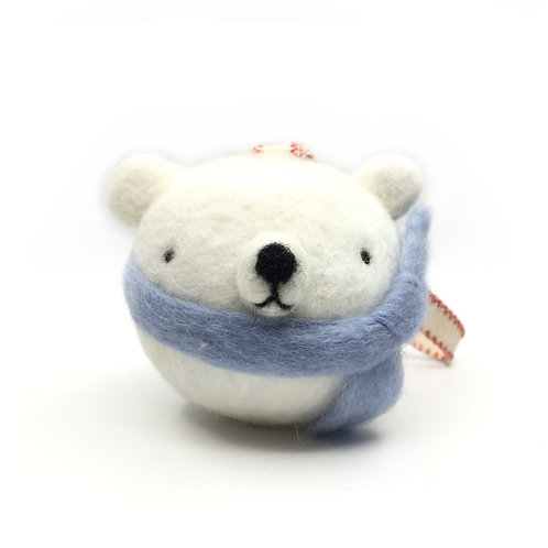 Needle Felted Polar Bear Ornament