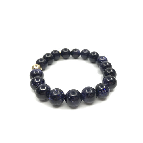 Blue Sandstone Bracelet 10mm - Gold
