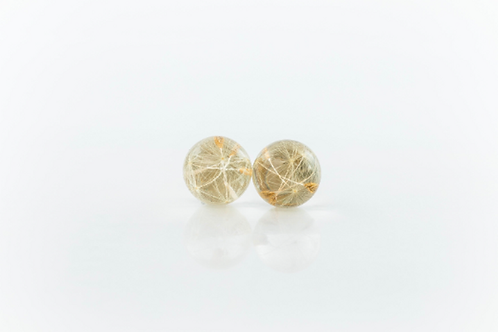 Real dandelion seed sterling silver resin stud earrings