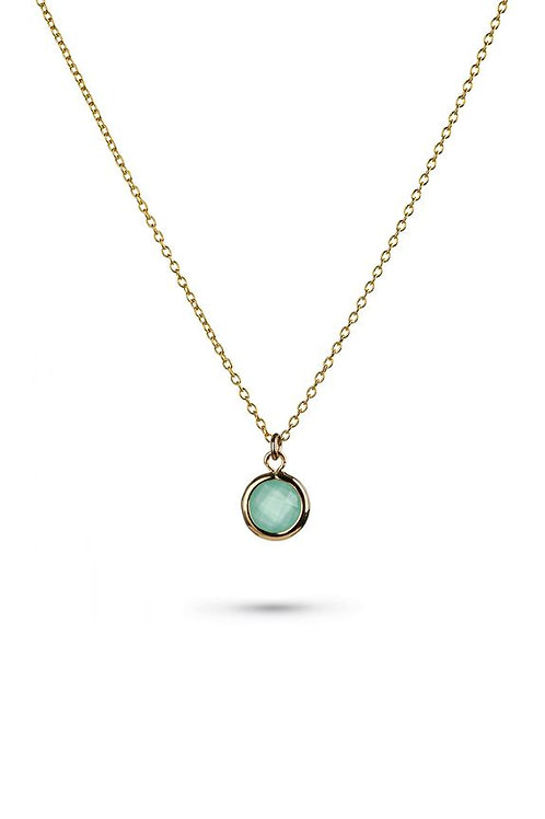 Aqua Glass Charm Gold Necklace *MARCH DELIVERY