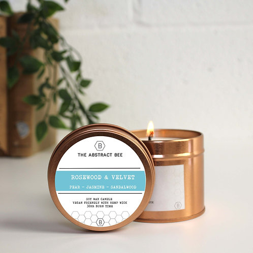 ROSEWOOD AND VELVET SCENT TIN CANDLE