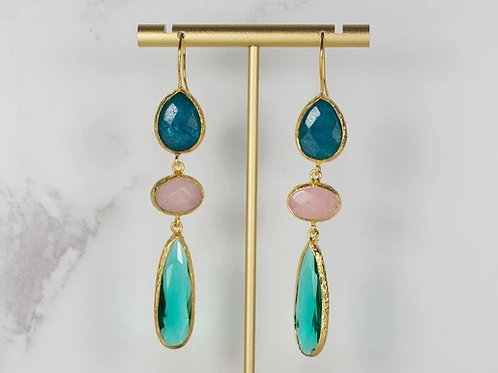TEAL PINK AND EMERALD TRIPLE DROPS