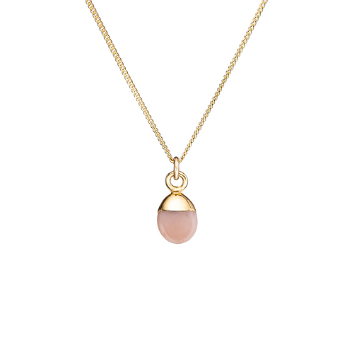 TINY TUMBLED GEMSTONE NECKLACE, PINK OPAL (HOPE)