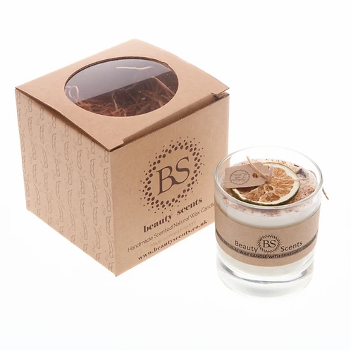 SCENTED SOY WAX CANDLE WITH SHREDDED CINNAMON IN GLASS CONTAINER BEAUTY SCENTS