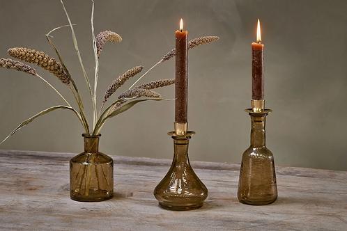 Sirsa Glass Candlestick - Sepia