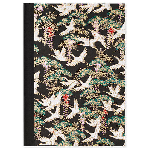 A5 LINED JOURNAL Flying Cranes / Black