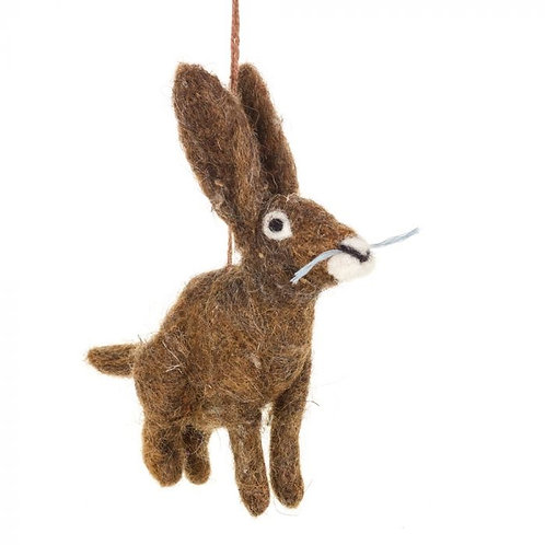 HANDMADE FELT HERBERT THE HARE HANGING DECORATION