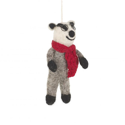 Handmade Felt Biodegradable Christmas Winter Badger Hanging Decoration