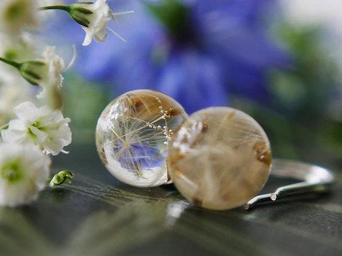 Dandelion seed sterling silver drop earrings - handmade in Scotland