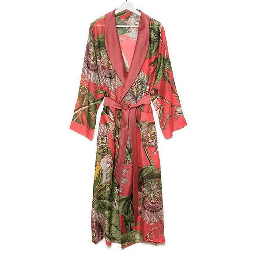 Kew Gardens Passion Flower Dressing Gown Coral