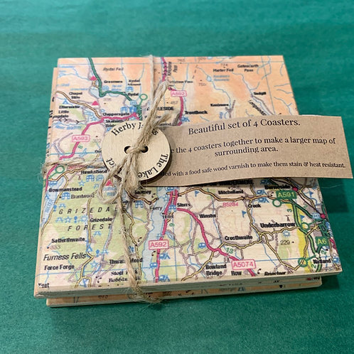 SET OF 4 WOODEN COASTERS MAP AMBLESIDE