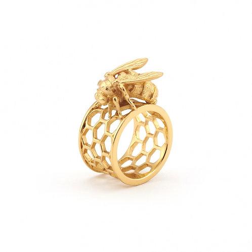 Bee & Honeycomb Ring