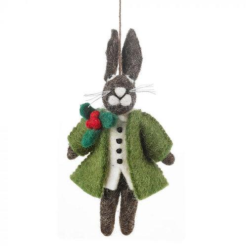 Handmade Felt Hector Christmas Hare Hanging Decoration