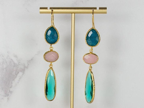 TEAL PINK AND EMERALD TRIPLE DROPS EARRINGS