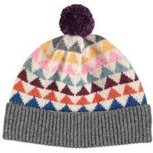 Triangle Pattern Bobble Hat - Aubergine Pom Pom