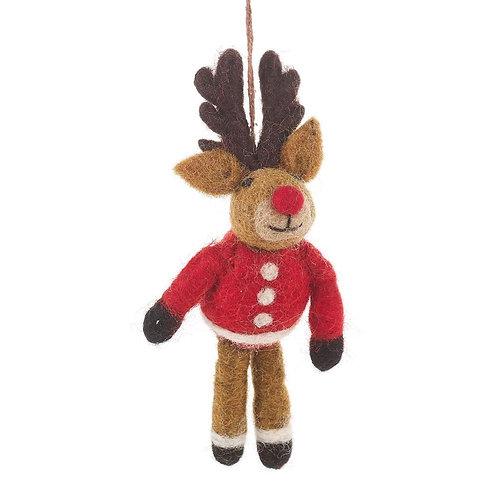 Handmade Felt Christmas Rudolph in his Christmas Jumper Hanging Dec