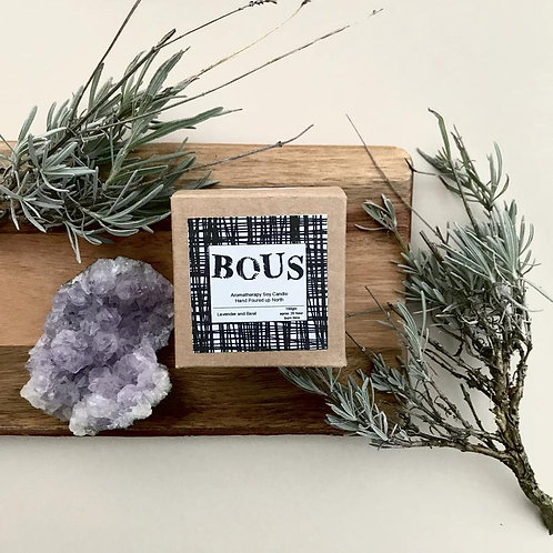 BOUS LAVENDER AND BASIL HAND POURED CANDLE